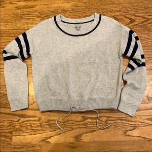 Aerie cropped sweater with drawstring hem sz med